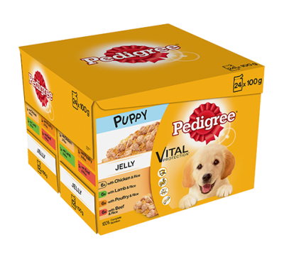 PEDIGREE® Puppy Pouches Meat Selection in Jelly 24x100g