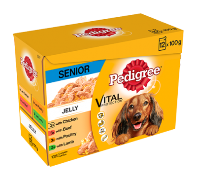 PEDIGREE® Senior Dog Pouches Meat Selection in Jelly 12x100g