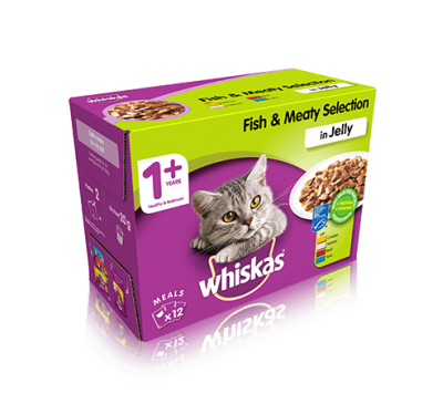 WHISKAS® 1+ Cat Pouches Fish & Meaty Selection in Jelly 12x100g