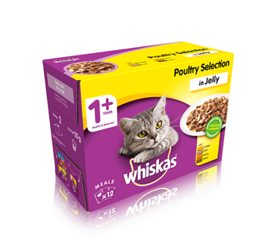 WHISKAS® 1+ Cat Pouches Poultry Selection in Jelly 12x100g