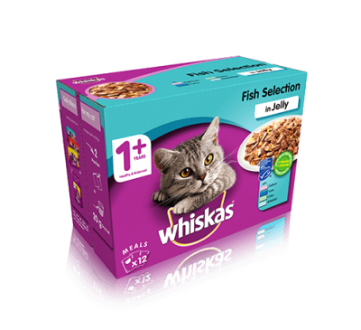 WHISKAS® 1+ Cat Pouches Fish Selection in Jelly 12x100g