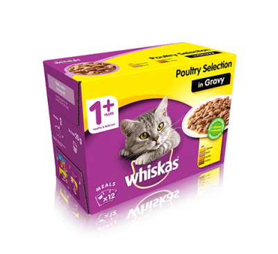 WHISKAS® 1+ Cat Pouches Poultry Selection in Gravy 12x100g