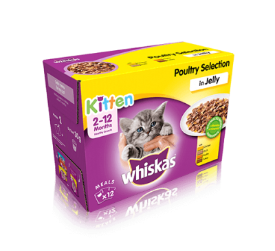 WHISKAS® 2-12 Months Kitten Pouches Poultry Selection in Jelly 12x100g