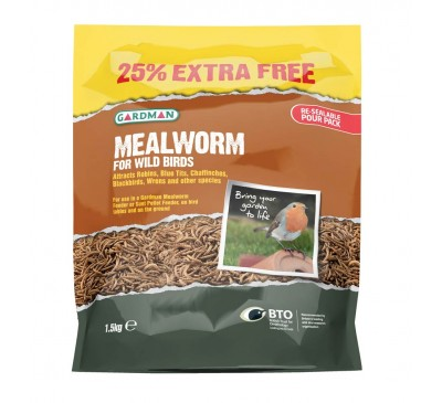 Gardman Mealworm Pouch 1.5kg (1.2kg + 25% Extra FREE)